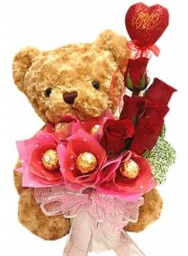 TA12 Rose Ferrero Rocher Teddy Vase