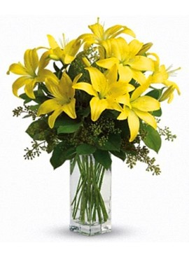 V08 Yellow Lily in Vase
