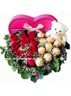 LB02 Rose Teddy with Ferrero Rocher Gift Box