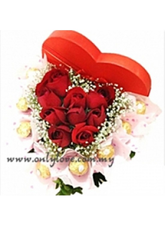 Heart Roses with Ferrero Rocher Gift Box