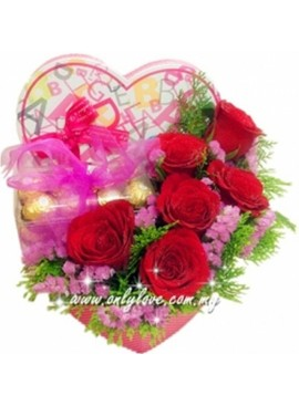 Rose with Chocolate Gift Box