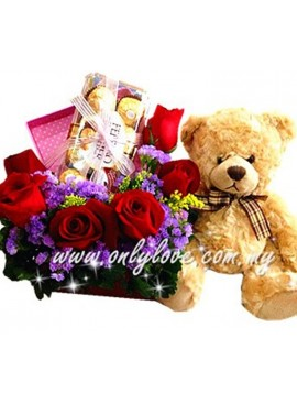 LB09 Rose Chocolate with Teddy Bear(48cm) Gift Box