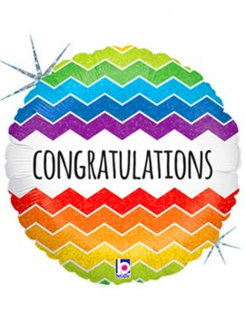 FB10 Chevron Congratulations Foil Mylar Balloon