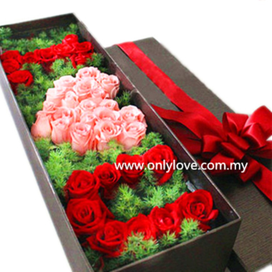 I Love U Roses Gift Box Sameday Flower Delivery To Malaysia Only
