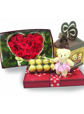 LB14 Heart Shape Rose Teddy Chocolate Gift Box
