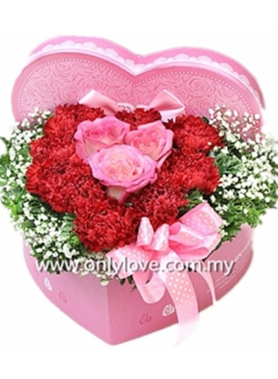 Heart Shape Flower Gift Box Sameday Flower Delivery To Malaysia