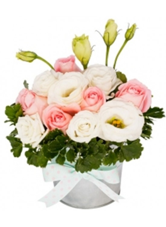 Rose Eustoma White Vase