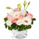 TA04 Rose Eustoma White Vase