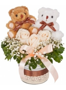 Rose Couple Teddy White Vase