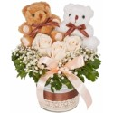 TA07 Rose Couple Teddy White Vase