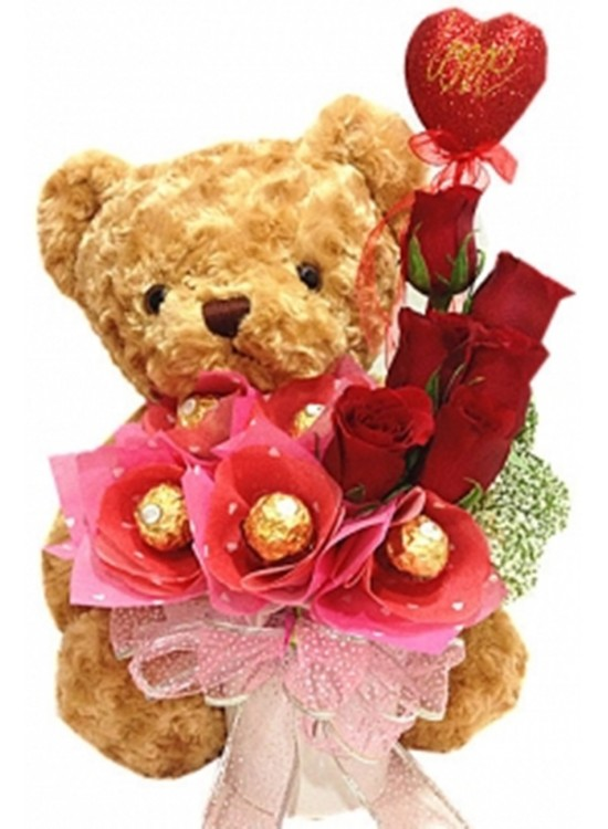 Rose Ferrero Rocher Teddy Vase
