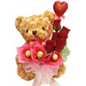 TA12 Rose Ferrero Rocher Teddy Vase