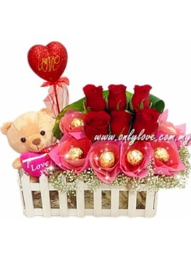 TA13 Rose Teddy Love Stick Vase