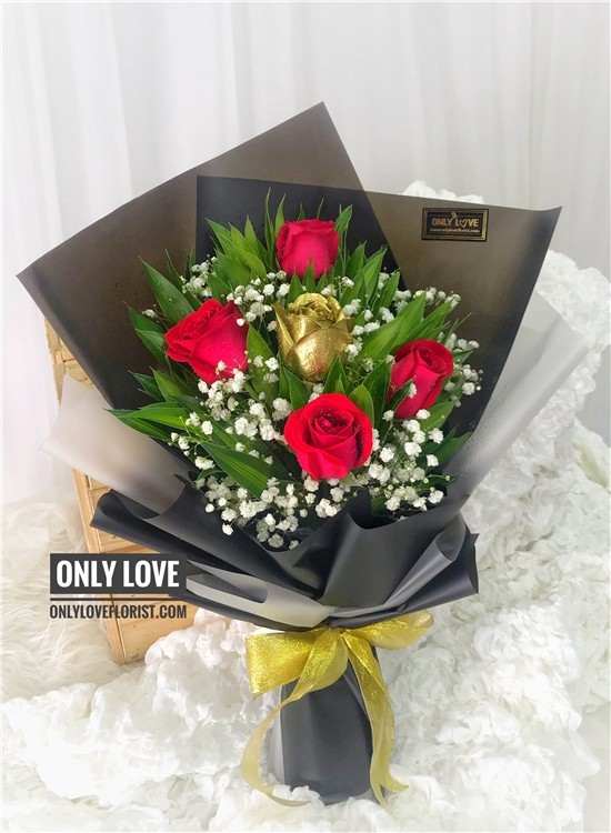 L81 Rose Hand Bouquet Same Day Flower Delivery To Malaysia Only Love Florist Gifts
