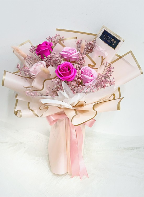 SF17 Pink Soap Dried Flowers Bouquet