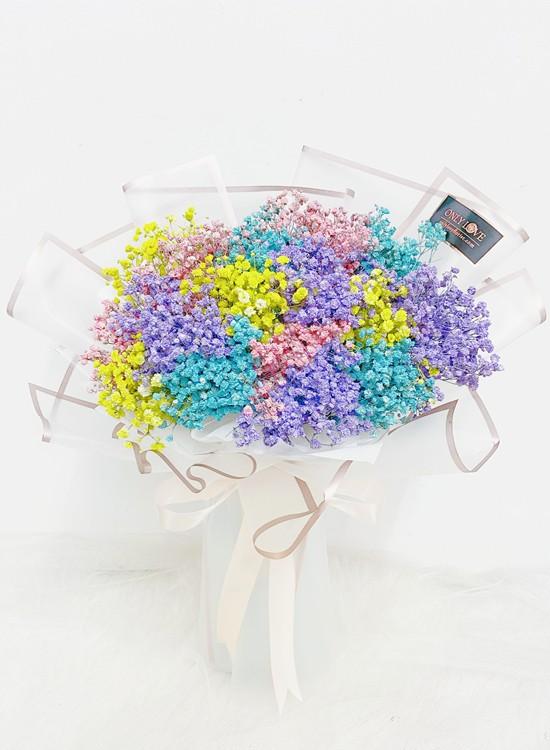 BA22 Rainbow Baby Breath Bouquet